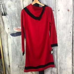 NWT Ellen Tracy Red and Black Sweater Dress Sz M